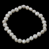 Cultured Freshwater Pearl Bracelets, Baroque, natural, white, 7-8mm, Length:Approx 7 Inch, Sold By Strand