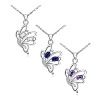 comeon® Jewelry Necklace, Brass, Butterfly, real silver plated, oval chain & micro pave cubic zirconia, more colors for choice, 35x20mm, Length:Approx 18 Inch, Sold By Strand