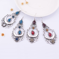 Resin Zinc Alloy Earring, with Resin, stainless steel earring hook, antique silver color plated, faceted & with rhinestone, more colors for choice, 38.11x91.52mm, Sold By Pair