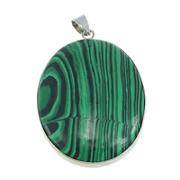 Malachite Pendants, with Brass, Flat Oval, platinum color plated, natural, 31x45x7mm, Hole:Approx 4x5mm, Sold By PC