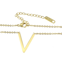 Stainless Steel Jewelry Necklace, with 2.5lnch extender chain, Letter V, gold color plated, oval chain, 2x1.4x0.3mm, 16x20x2mm, Length:Approx 15 Inch, Sold By Strand