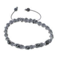 Non Magnetic Hematite Woven Ball Bracelets, with Cotton, adjustable, 6mm, 8x6mm, Length:9-10 Inch, Sold By Strand