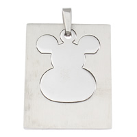 Stainless Steel Pendants, Rectangle, original color, 31x39x2mm, Hole:Approx 3x5mm, Sold By PC