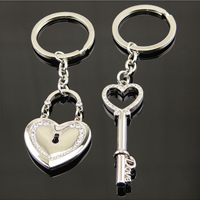 Couple Key Chain, Zinc Alloy, with iron ring, heart and key, silver color plated, for couple & with rhinestone, 115mm, Sold By Pair