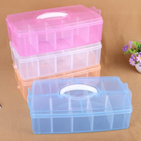 Plastic Bead Container, Rectangle, transparent & 10 cells, more colors for choice, 315x185x95mm, Sold By PC