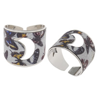 Iron Cuff Finger Ring, platinum color plated, colorful powder, nickel, lead & cadmium free, 21x19x20mm, US Ring Size:9, Sold By PC