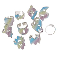 Iron Cuff Finger Ring, platinum color plated, colorful powder, nickel, lead & cadmium free, 21x18x21mm-22x35x22mm, US Ring Size:7.5-11.5, Sold By PC