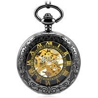 Pocket Watch, Zinc Alloy, with iron chain & Glass, Flat Round, plated, twist oval chain, 47x47mm, Length:Approx 14 Inch, Sold By Strand