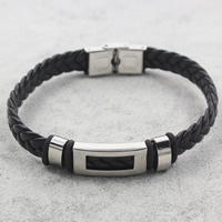 Men Bracelet, Stainless Steel, with PU & Silicone, braided, black, 42x12x5mm, Length:Approx 8 Inch, Sold By Strand