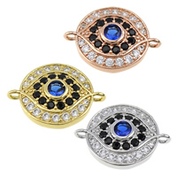 Cubic Zirconia Micro Pave Brass Connector, Eye, plated, micro pave cubic zirconia & 1/1 loop, more colors for choice, 18.5x13.5x4mm, Hole:Approx 1.5mm, Sold By PC