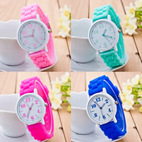 Unisex Wrist Watch, Silicone, with zinc alloy dial & Glass, Chinese movement, Flat Round, painted, more colors for choice, 30-40mm, Length:Approx 9 Inch, Sold By PC