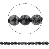 Snowflake Obsidian Bead, Round, natural, different size for choice & faceted, Hole:Approx 1mm, Length:Approx 14.5 Inch, Sold By Strand