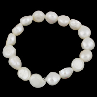 Cultured Freshwater Pearl Bracelets, Baroque, natural, white, 10-11mm, Length:Approx 7.5 Inch, Sold By Strand