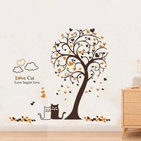 PVC Plastic Wall Stickers, Tree, adhesive & with letter pattern, 1400x1200mm, Sold By Set