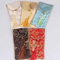 Mobile Phone Pouch, Silk, with Nylon Cord & Iron, Rectangle, mixed colors, 80x180mm, 100PCs/Bag, Sold By Bag