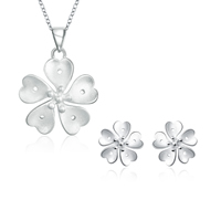 comeon® Jewelry Set, Brass, earring & necklace, with 2lnch extender chain, Flower, real silver plated, oval chain, 19mm, 23x32mm, Length:Approx 17.7 Inch, Sold By Set