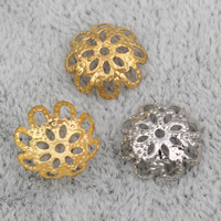 Iron Bead Caps, Flower, plated, more colors for choice, nickel, lead & cadmium free, 9x3mm, Hole:Approx 1mm, 2000PCs/Bag, Sold By Bag