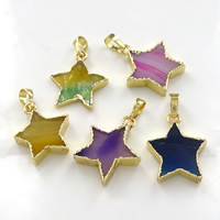 Agate Brass Pendants, with Agate, Star, gold color plated, natural, mixed colors, 20-24x23-26x4-6mm, Hole:Approx 5x7mm, Sold By PC