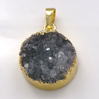 Natural Agate Druzy Pendant, Brass, with Ice Quartz Agate, Flat Round, gold color plated, druzy style, 20x25x8mm, Hole:Approx 5x7mm, Sold By PC