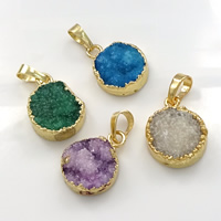 Natural Agate Druzy Pendant, Brass, with Ice Quartz Agate, Flat Round, gold color plated, druzy style, mixed colors, 13-17x20x5-7mm, Hole:Approx 5x7mm, Sold By PC