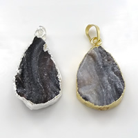 Natural Agate Druzy Pendant, Brass, with Ice Quartz Agate, plated, druzy style & mixed, 20-25x34-37x6-7mm, Hole:Approx 5x7mm, Sold By PC