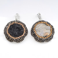 Natural Agate Druzy Pendant, Brass, with Rhinestone Clay Pave & Ice Quartz Agate, Flower, silver color plated, druzy style, more colors for choice, 30x33x6mm, Hole:Approx 5x7mm, Sold By PC
