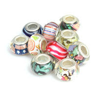 Brass Core Lampwork European Beads, Acrylic, Rondelle, platinum color plated, different designs for choice & brass double core without troll, 9x14mm, Hole:Approx 5mm, Sold By PC