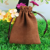 Suede Drawstring Pouches, with Nylon Cord, deep coffee color, 90x120mm, Sold By PC