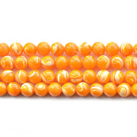 Natural Freshwater Shell Beads, Round, different size for choice, orange, Hole:Approx 1mm, Length:Approx 15.5 Inch, Sold By Strand