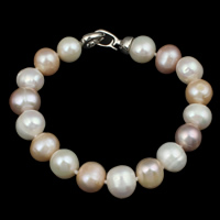 Cultured Freshwater Pearl Bracelets, brass foldover clasp, Potato, natural, multi-colored, 10-11mm, Length:Approx 7.5 Inch, Sold By Strand