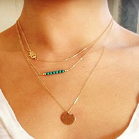 Fashion Multi Layer Necklace, Zinc Alloy, with iron chain & Synthetic Turquoise, gold color plated, oval chain & 3-strand, nickel, lead & cadmium free, 40cm, Length:Approx 15.5 Inch, Sold By Strand