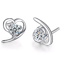 Sterling Silver Cubic Zirconia Earring, 925 Sterling Silver, with rubber earnut, Heart, with cubic zirconia, clear, 7x8mm, Sold By Pair