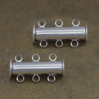 Brass Slide Lock Clasp, Column, silver color plated, 3-strand, 20x10x7mm, Hole:Approx 2mm, Sold By PC