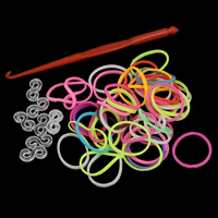 Loom Bands, Rubber, with Plastic, attachted crochet hook & with plastic S clip, mixed colors, 17x1mm, Approx 300PCs/Bag, Sold By Bag