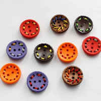 2 Hole Wood Button, with Nylon Cord, Flat Round, for children, mixed colors, 18mm, Sold By PC