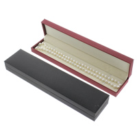 Silk Necklace Box, with Cardboard & Velveteen, Rectangle, more colors for choice, 47x223x23mm, Sold By PC