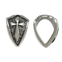 Stainless Steel Jewelry Bails, 316L Stainless Steel, Badge, blacken, 12x18x2.5mm, Hole:Approx 9x13mm, Sold By PC