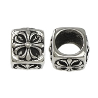 Stainless Steel European Beads, 316L Stainless Steel, Cube, blacken, 9x11x11mm, Hole:Approx 7mm, Sold By PC