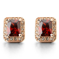 Crystal Rhinestone Earring, Zinc Alloy, with Crystal, stainless steel post pin, Rectangle, rose gold color plated, with Austria rhinestone & faceted, Hyacinth, nickel, lead & cadmium free, 10x12mm, Sold By Pair