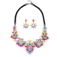 Statement Jewelry Sets, Zinc Alloy, earring & necklace, with Nylon Cord & Crystal & Resin, brass post pin, with 2Inch extender chain, plated, faceted & with rhinestone, 60mm,40mm, Length:Approx 19.29 Inch, Sold By Set