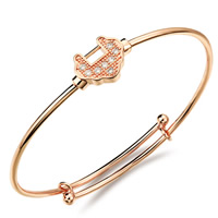 Adjustable Wire Bangle, Brass, Longevity Lock, rose gold color plated, for children & micro pave cubic zirconia, nickel, lead & cadmium free, 1.5mm, Inner Diameter:Approx 50mm, Length:Approx 5.5 Inch, Sold By PC