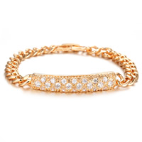 Cubic Zirconia Micro Pave Brass Bracelet, Rectangle, gold color plated, curb chain & micro pave cubic zirconia, nickel, lead & cadmium free, 8mm, Length:Approx 7.5 Inch, Sold By Strand