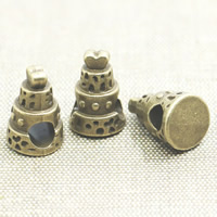 Zinc Alloy European Beads, Cake, antique bronze color plated, without troll, lead & cadmium free, 15x10x10mm, Hole:Approx 4-5mm, 50PCs/Bag, Sold By Bag