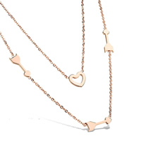 Fashion Multi Layer Necklace, Stainless Steel, rose gold color plated, oval chain & 2-strand, 12x4mm, Length:Approx 18 Inch, Sold By Strand
