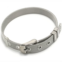 Stainless Steel Mesh Belt Buckle Bracelet, original color, 8mm, Length:Approx 8 Inch, Sold By Strand