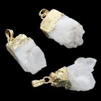 Natural Agate Druzy Pendant, Ice Quartz Agate, with brass bail, gold color plated, druzy style, white, 15x37x20mm-20x48x18mm, Hole:Approx 5x7mm, Sold By PC