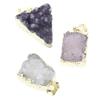 Natural Agate Druzy Pendant, Ice Quartz Agate, with brass bail, gold color plated, druzy style & mixed, 15x23x11mm-22x28x12mm, Hole:Approx 5x7mm, Sold By PC
