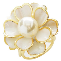 Scarf Buckle, Zinc Alloy, with Glass Pearl, Flower, gold color plated, enamel, 26x26mm, Sold By PC
