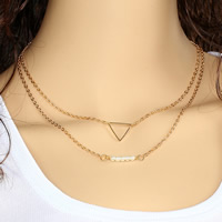 Fashion Multi Layer Necklace, Zinc Alloy, with ABS Plastic Pearl & iron chain, Triangle, 18K gold plated, oval chain & 2-strand, lead & cadmium free, 38cm, Length:Approx 15 Inch, Sold By Strand