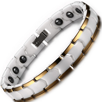 Stainless Steel Health Bracelets, Porcelain, with Magnetic Hematite & Stainless Steel, plated, hygienical & Unisex, 9mm, Length:Approx 7 Inch, Sold By Strand